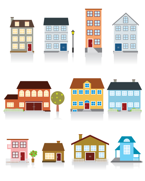 free vector Buliding and house